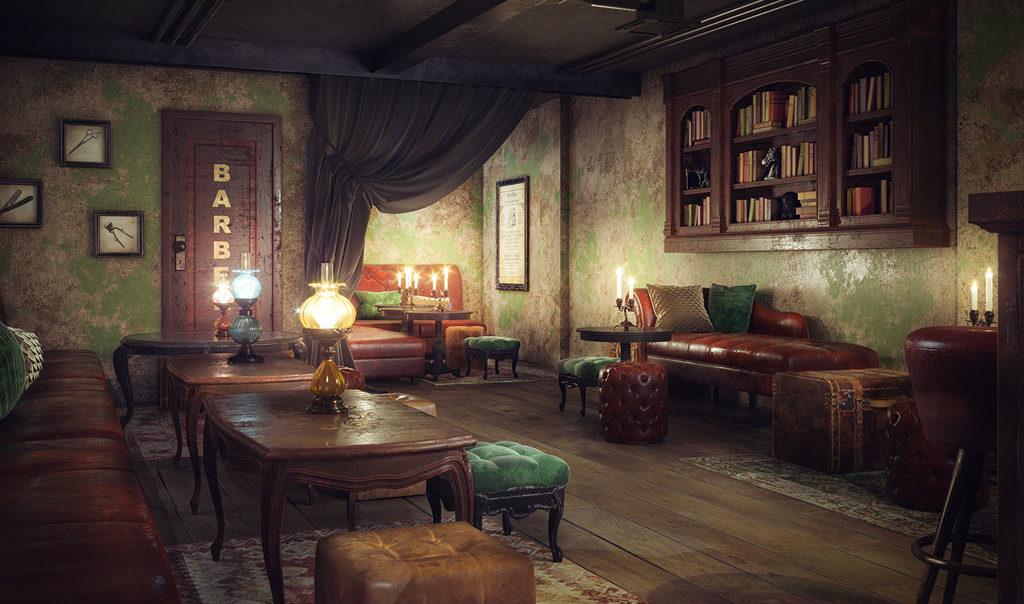 Bolatti Barbers Shop - Interior Bar Visual 7 - Grey Coffee