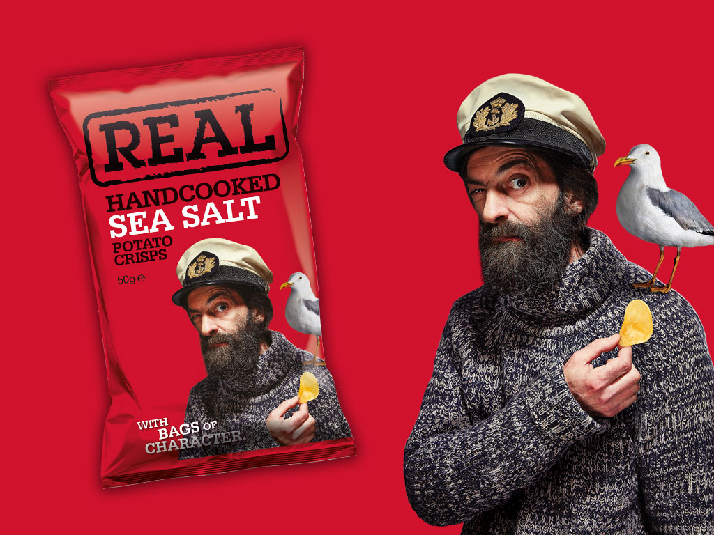 Real Crisps - Product Pack Brand Example - Grey Coffee